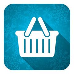 cart flat icon, christmas button, shopping cart symbol