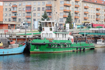 motor boat stand at a berth