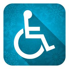 wheelchair flat icon, christmas button