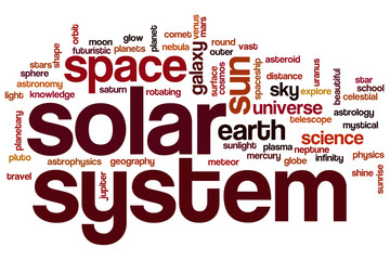Solar system word cloud