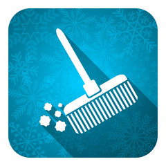 broom flat icon, christmas button, clean sign