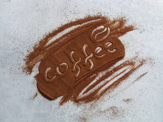 COFFEE WORDS IN GROUND COFFEE