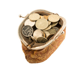 coins in the vintage purse