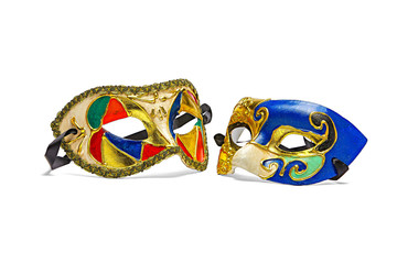 Two colorful Mardi Gras Masks on pure white background