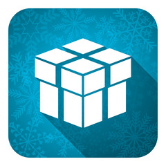 box flat icon, christmas button