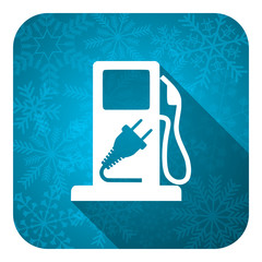 fuel flat icon, christmas button, hybrid fuel sign
