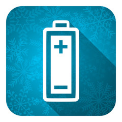 battery flat icon, christmas button, power sign