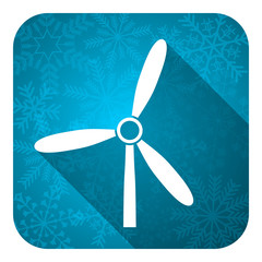 windmill flat icon, christmas button, renewable energy sign