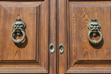 Old wooden door with doorknockers closeup