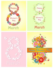 Greetings for Woman's Day with spring flowers