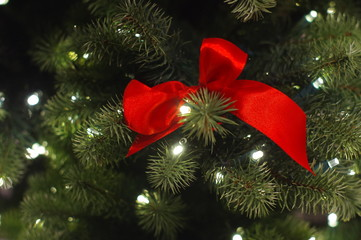 red christmas bow tree close-up