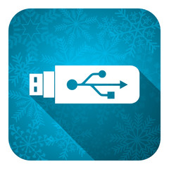 usb flat icon, christmas button, flash memory sign