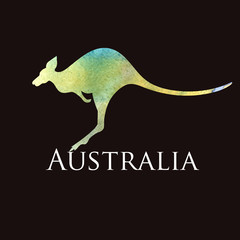 watercolor silhouette kangaroo sign