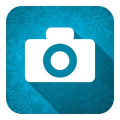 camera flat icon, christmas button