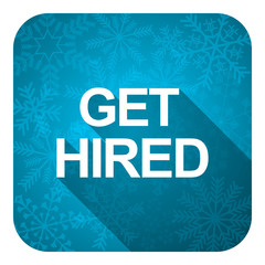 get hired flat icon, christmas button