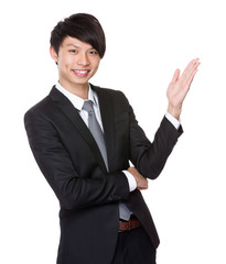 Businessman with open hand palm