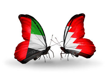 Two butterflies with flags UAE and Bahrain