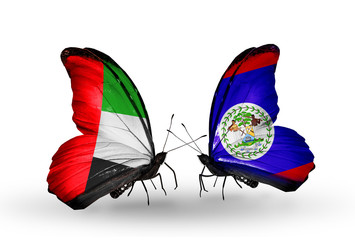 Two butterflies with flags  UAE and Belize