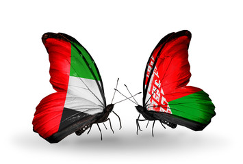 Two butterflies with flags UAE and Belarus