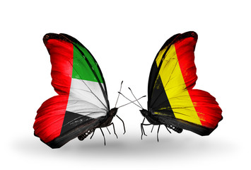 Two butterflies with flags UAE and Belgium