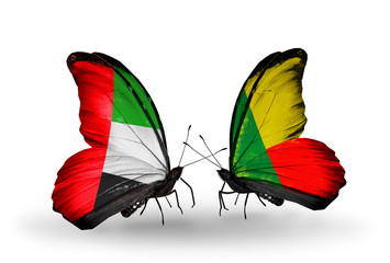 Two butterflies with flags  UAE and Benin