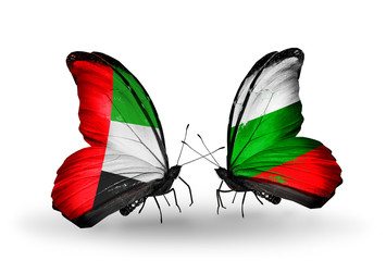 Two butterflies with flags UAE and Bulgaria