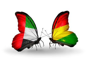 Two butterflies with flags UAE and Bolivia