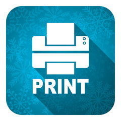 printer flat icon, christmas button, print sign