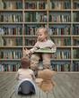 small reader and  teddy bear