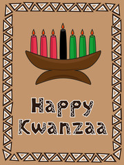 Kwanzaa postcard with candlestick and traditional ornament