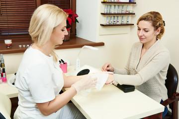 Manicure in beauty salon