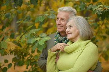 Old couple at autumn park