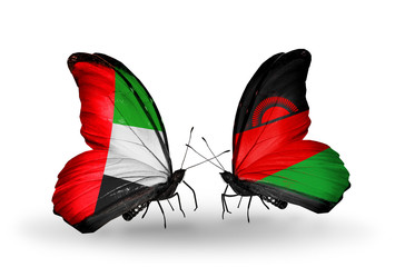 Two butterflies with flags  UAE and Malawi