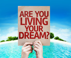 Are You Living Your Dream? card with a beach