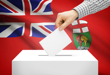 Ballot box with national flag on background - Manitoba