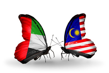 Two butterflies with flags  UAE and Malaysia