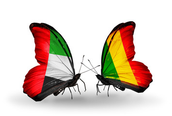 Two butterflies with flags  UAE and Mali