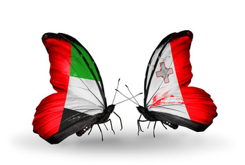 Two butterflies with flags UAE and Malta