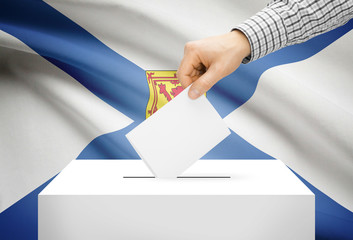 Ballot box with national flag on background - Nova Scotia