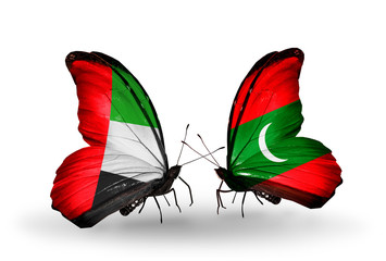 Two butterflies with flags UAE and Maldives