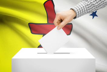 Ballot box with national flag on background - Nunavut
