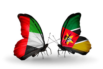 Two butterflies with flags UAE and Mozambique