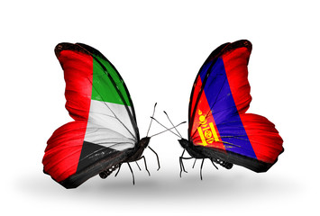 Two butterflies with flags UAE and Mongolia