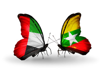 Two butterflies with flags UAE and Myanmar