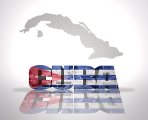 Word Cuba on a map background