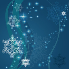 Christmas blue background with snowflake shapes.