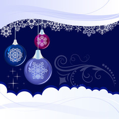 Christmas blue background with decoration balls.