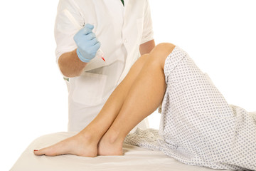 Woman patient legs doctor needle ready to stick