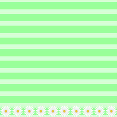 Green border background with daisy flowers