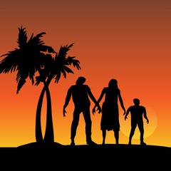 Three Zombies Walking on Sunset Beach